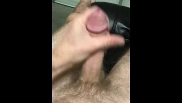 Stroking big dick cum