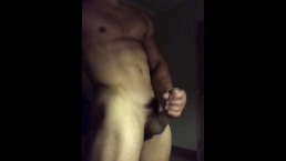 Sexy athlete stroking his big cock