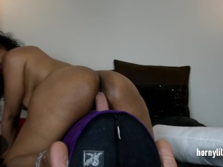 Big Ass Indian Riding Her Big White Dildo
