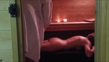 A fan makes me a Massage in the Sauna