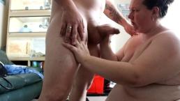 fat wife bbw emma loses bet to me so i get a grumpy blowjob cum on tits