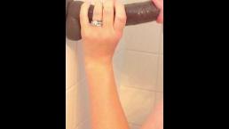 Wife struggles to take first BBC dildo