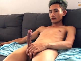 Asian boy jerking off...