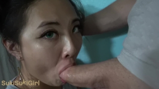 Green Eyed Asian THROATFUCK white cock POV & gets creampie Sukisukigirl  homemade creampie sukisuki couple asian blowjob amateur wmaf cumshot pov chinese interracial deepthroat facefuck sukisukigirl throatfuck