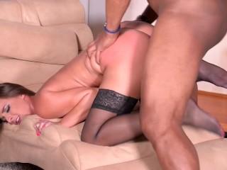 Super Horny Secretary: Hot College Babe Rides Black Cock