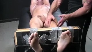 Wanks intensely while being tickled restrained guy hot shot russ