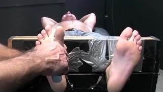 Restrained hot guy wanks while being intensely tickled Daughter step