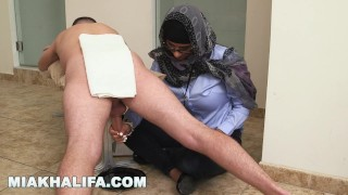 MIA KHALIFA - Your Favorite Arab Pornstar Milking Two Cocks Just For Fun Point facial