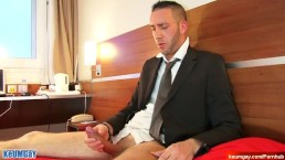 cock massage to an in suit salesman serviced in a porn