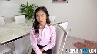 PropertySex - Petite Asian real estate agent takes big cock porno