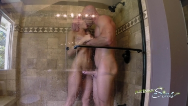 Hot Teen Spies on Neighbor and Gets CreamPied in Shower!