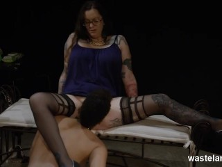 Plump Dominant Lesbian Has Black Slave Girl Service In BDSM Roleplay