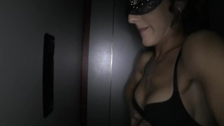 My wife enjoying the gloryhole in her mask  glory hole hot wife gloryhole