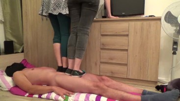 under the shoes of two cruel ladies - part2 - trampling - cbt trample