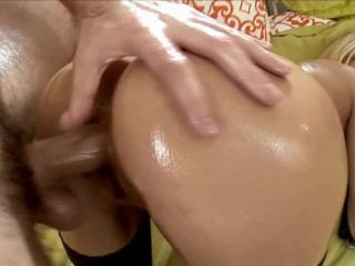 Tiny Little Blonde Teen Takes on Huge Cock and Gets Anal Creampie
