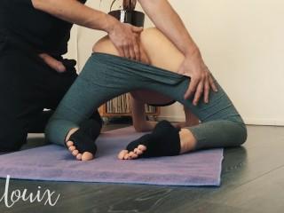 Guy fucks horny in yoga pants and black ankle socks - LenaLouix
