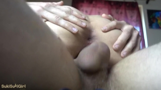 Asian Girlfriend CUM dripping out of her pussy after hotpot @SukiSukiGirl Cum milf