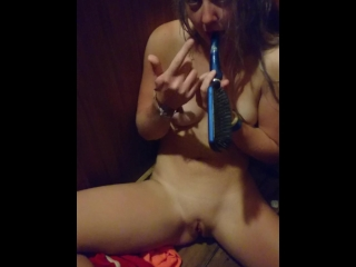 Changing room masturbation with hair brush - little Boo