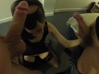 Asian wife shared in threesome fucked and ends in facial
