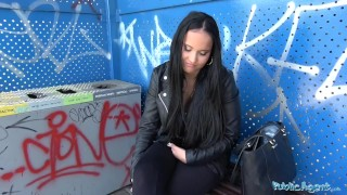 Public Agent Sticky facial for busty hot Czech teen under railway bridge Tits sucking
