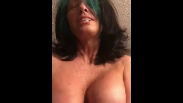 Playing with my dick while she cums