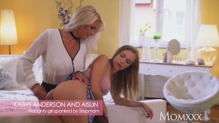 MOM Naughty little young girl spanked by busty blonde Stepmom MILF porno