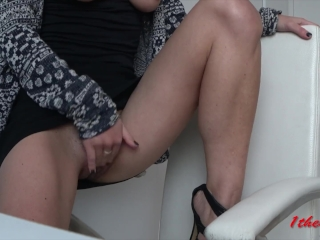 Skinny girl with big tits play in a public office untill orgasm. Amateure