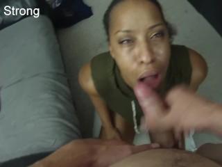 HOT ebony amateur milf learning to suck dick like a pornstar