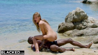 BLACKED Strong black man fucks blonde tourist on the beach Tits daddario