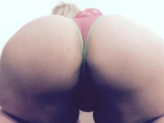 Carlycurvy striptease in pink and green g thong