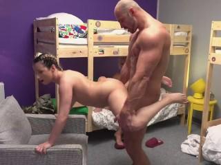 Fake Hostel Petite backbacker babe fucks an absolute unit in threesome