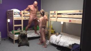 Fake Hostel Petite backbacker babe fucks an absolute unit in threesome Of sasha