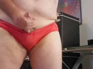 Wearing my wife's panties and riding a glass dildo and eats cum Part6