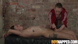 Young gay Nathan Hope cums hard after intense handjob