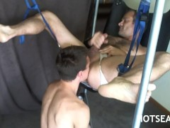 DADDY lays back in SLING for YOUNGER to CHEM & BAREBACK him