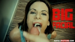 Big Facial and Cum in Mouth for athletic girl after fucking POV