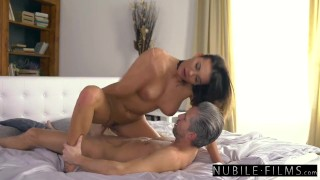 Se home nubilefilms surprises boss her at assistant naughty brunette kissing