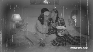 Jenna Sativa devores Riley Reid pussy in this halloween sleepover