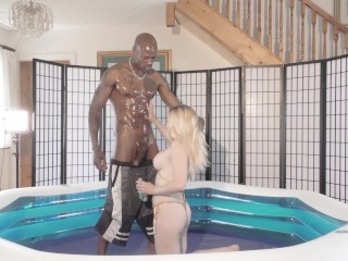 Fake tit blonde by big black cock in...
