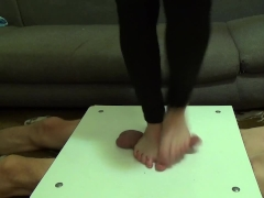 Crushed cock and balls with barefoot - CBT Trampling -part2