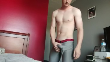 Showing off a FAT bulge and cumshot