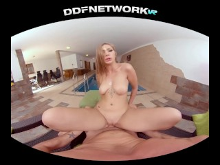 Get your VR gear ready & see spa babe Vyvan Hill ride your dick in POV