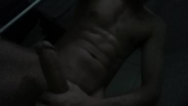 Skinny guy wanks his huge cock