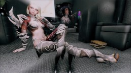 Skyrim 2 female warriors and troll 3P