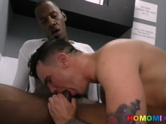 Black men sharing a whiteboi at a gloryhole