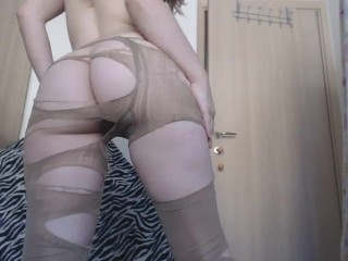 Beige pantyhose rip off on and hairy pussy...