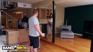 BANGBROS - Audrey Bitoni Secretly Fucking The Mover Behind Boyfriend's Back