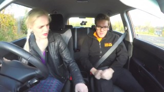 Fake Driving School Spunk covered pussy for busty British babe Alice Judge Big wife