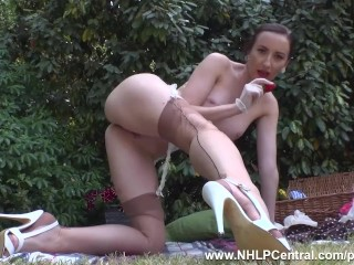 Brunette babe strips off on picnic to show firm tits trim pussy retro nylon