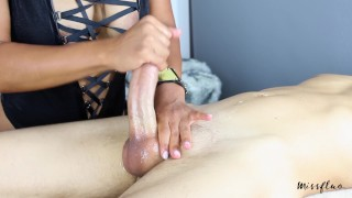 MissFluo - Mistress gives Best Edging Handjob, Ruins 2 Times + Final Cum Big mouth